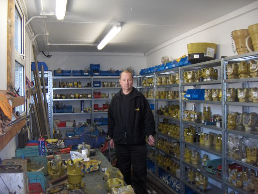 Mick Hewitt in the transmission stores